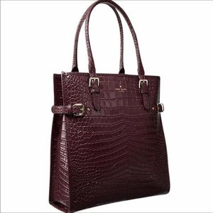 Kate Spade Vanston Burgundy Leather Croc Tote